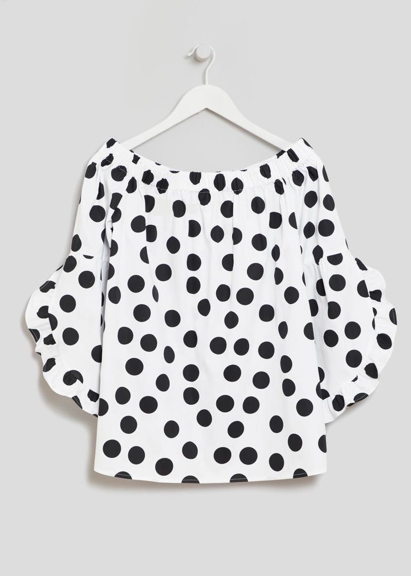 Polka Dot Frill Sleeve Bardot Top