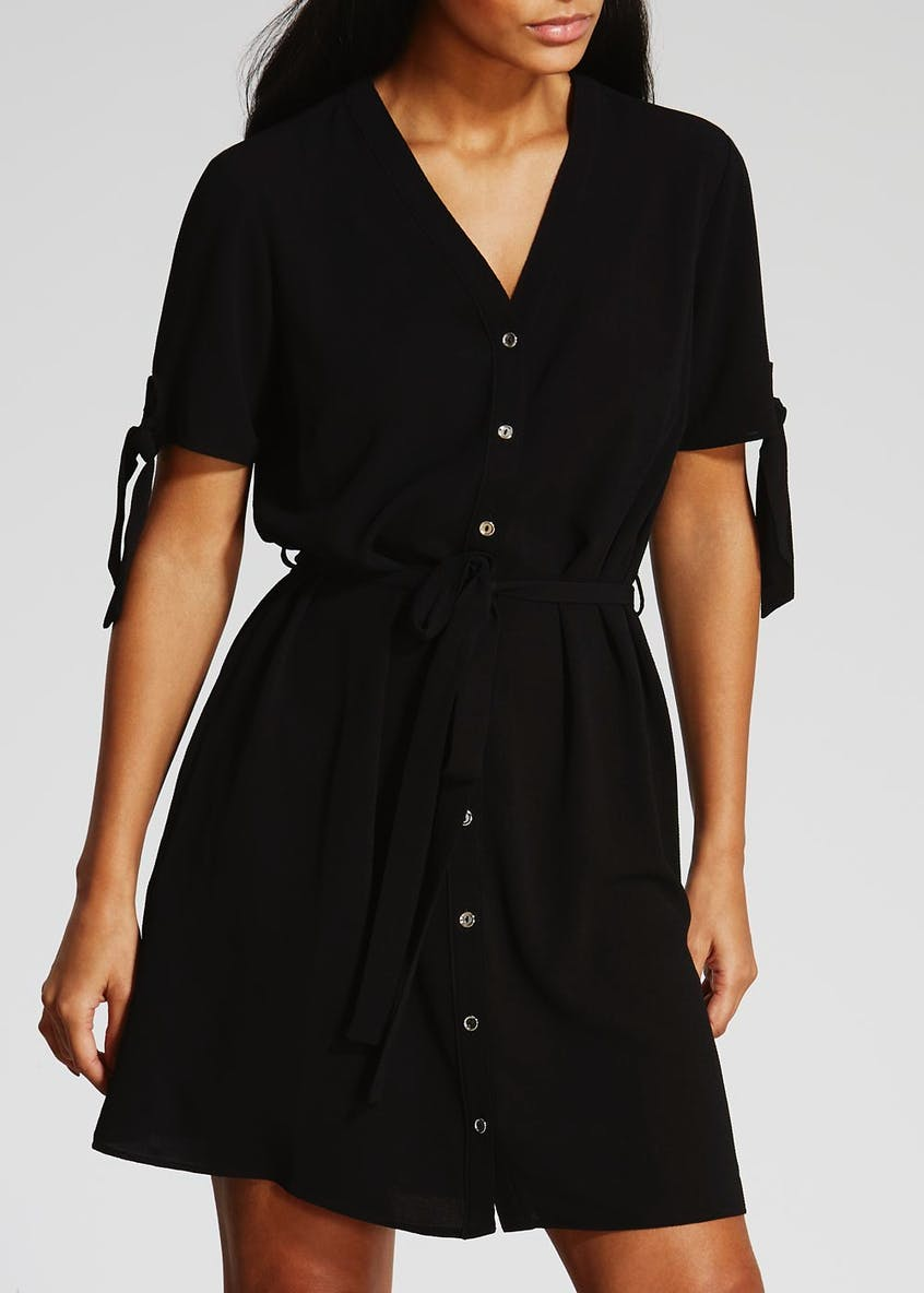 Tie Sleeve Shirt Dress