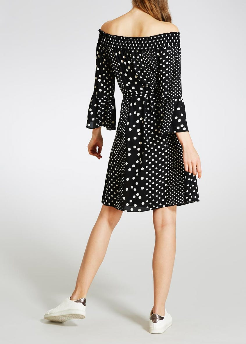 Polka Dot Bell Sleeve Bardot Dress