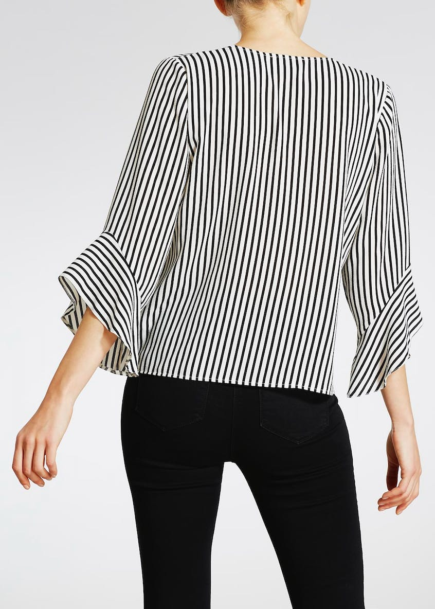 Zip Front Bell Sleeve Blouse