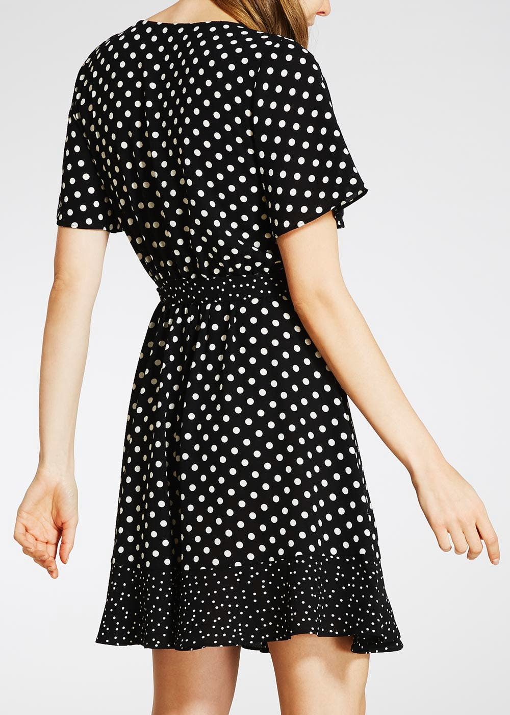 Polka Dot Wrap Tea Dress – Black – Matalan