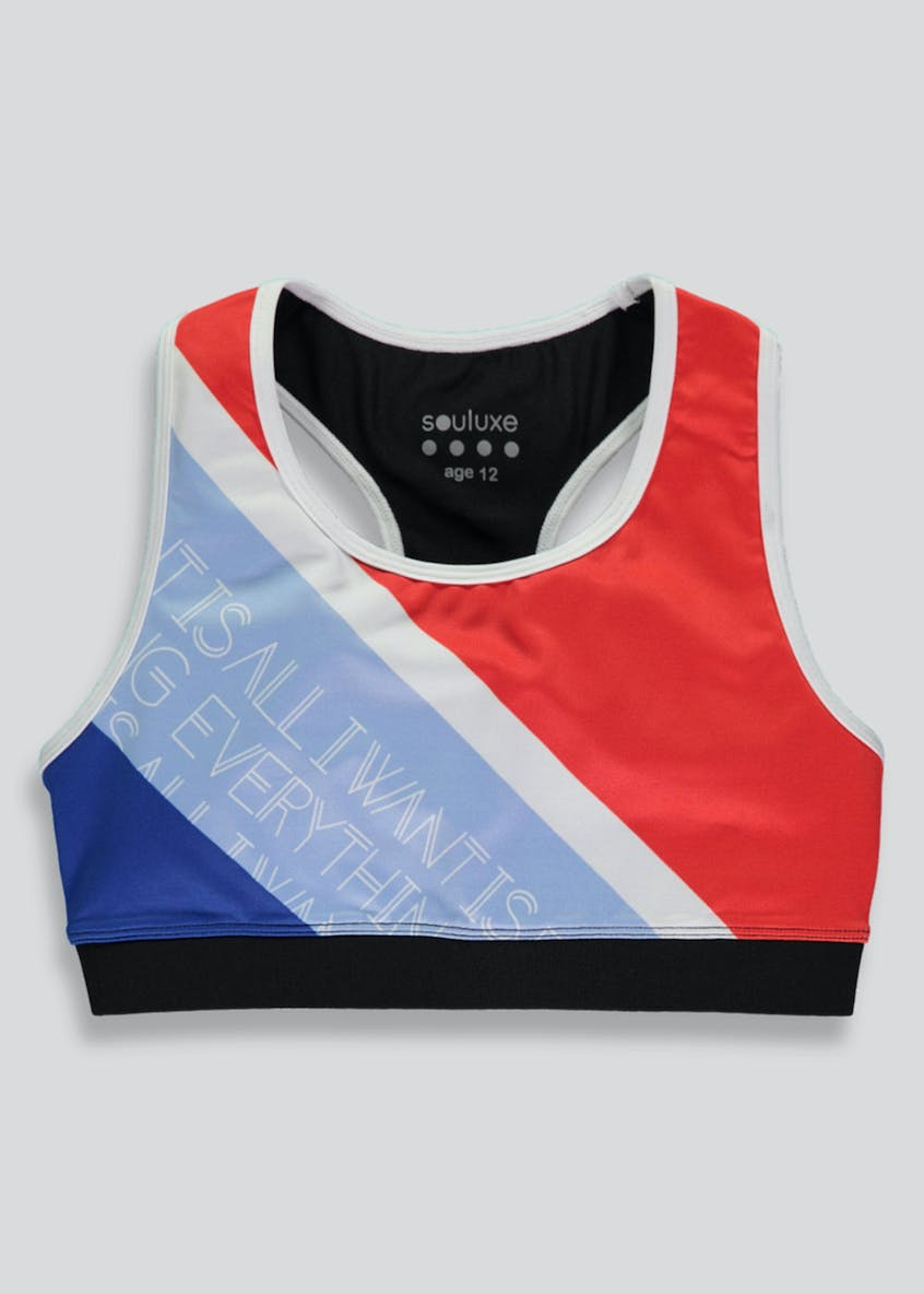Girls Souluxe Printed Sports Crop Top (9-13yrs)
