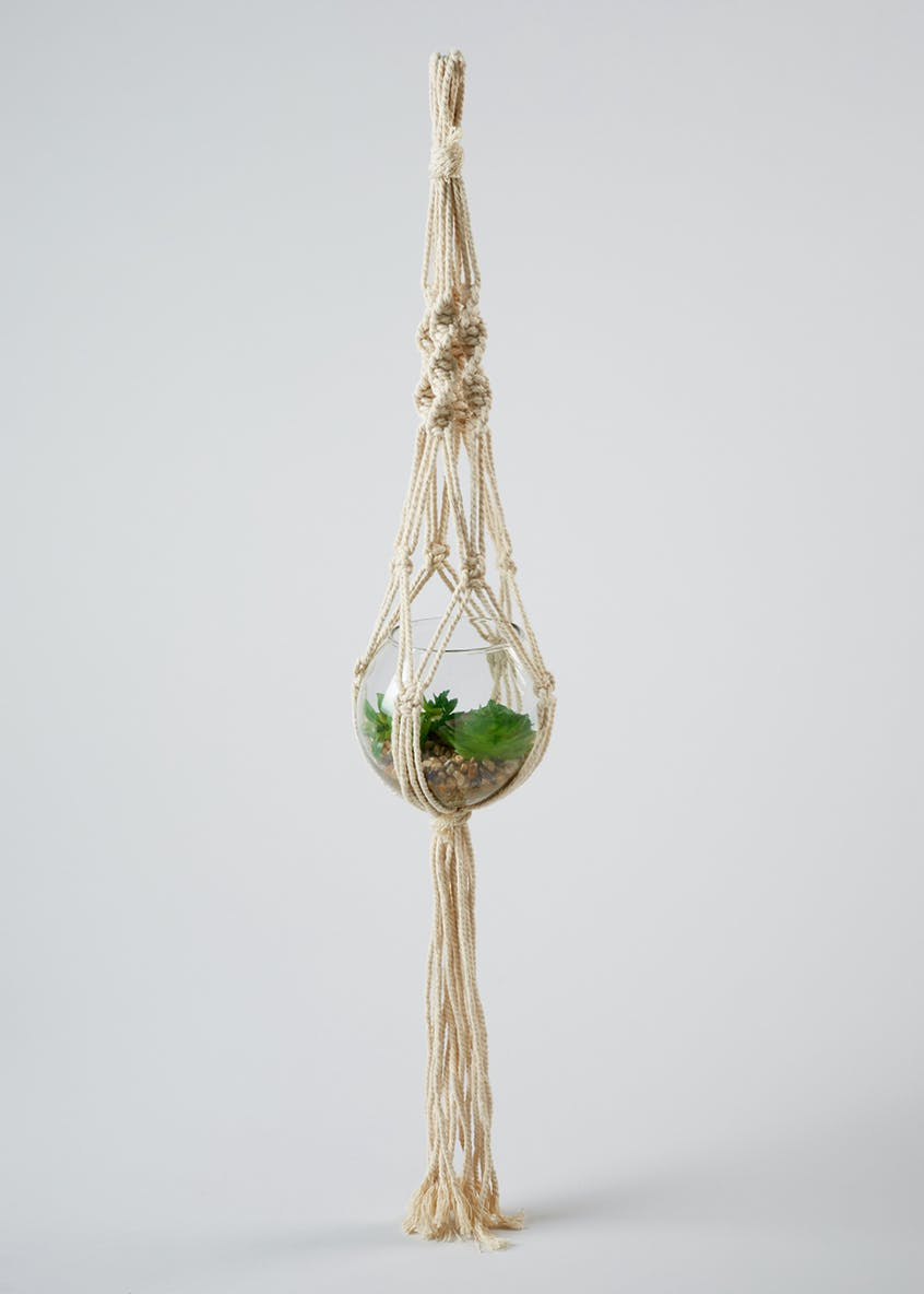 Macramé Hanging Plant in Glass Bowl (84cm x 13cm x 13cm)