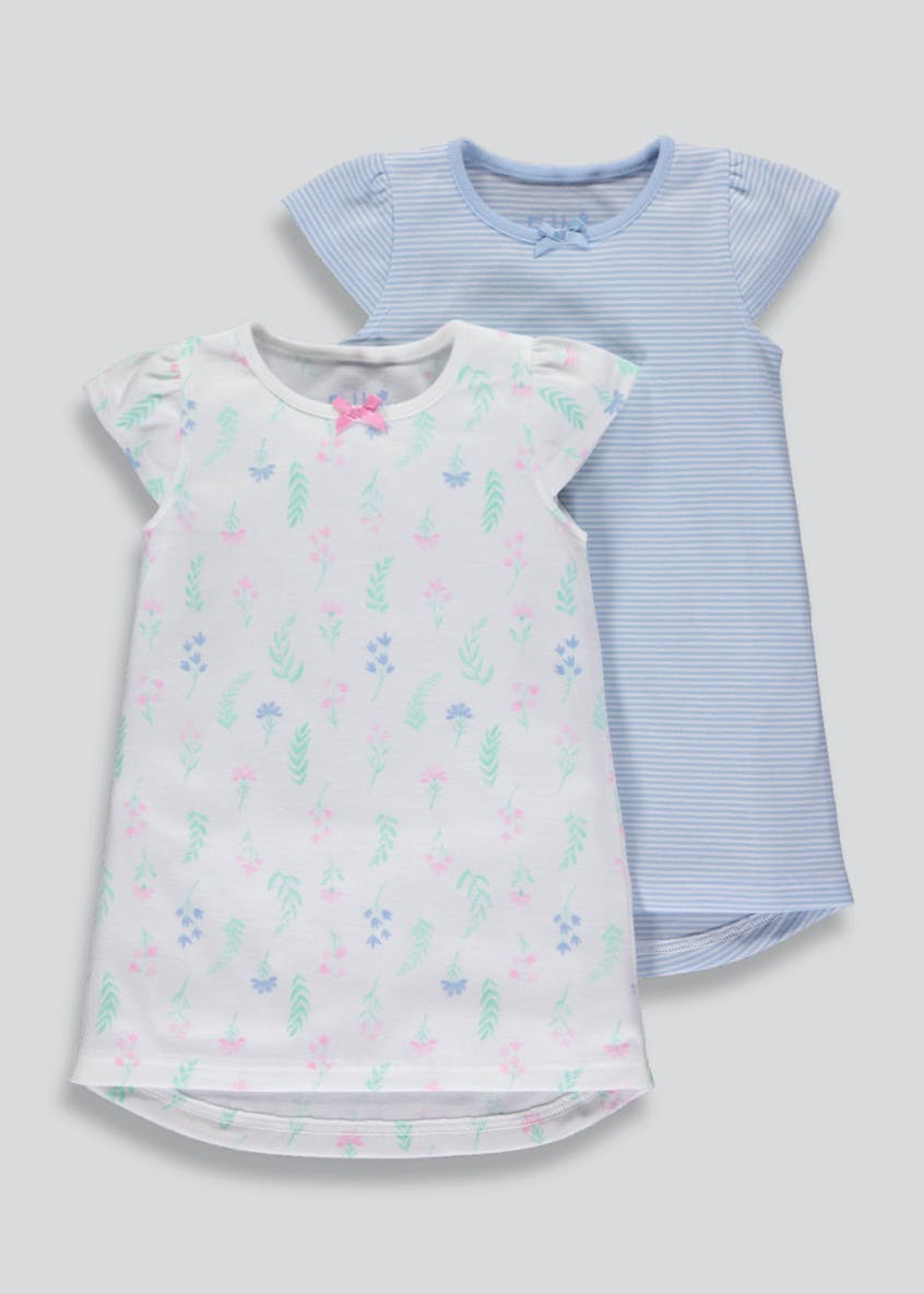 Girls 2 Pack Floral & Stripe Nighties (9mths-5yrs)