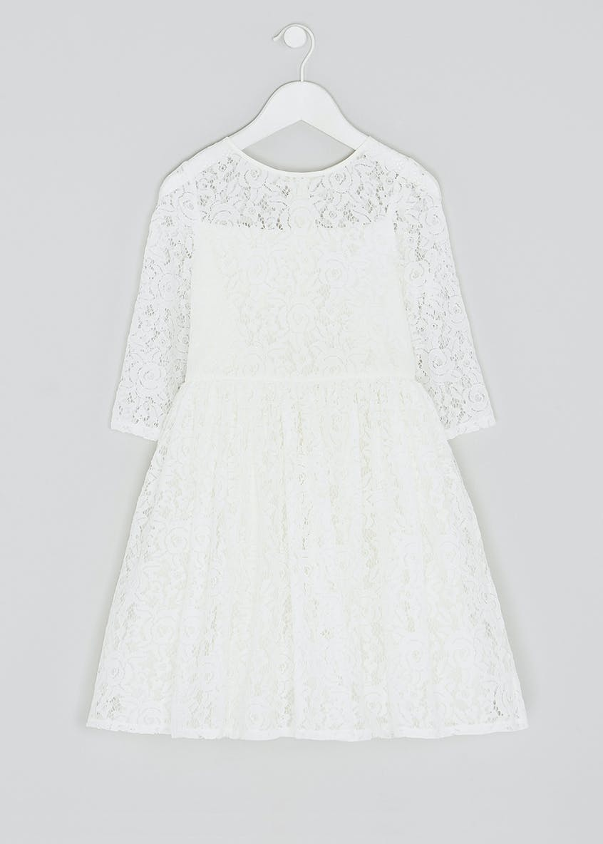 Girls Lace Sleeve Flower Girl Dress (4-13yrs)