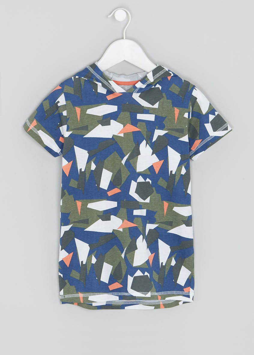 Boys Geometric Hooded T-Shirt (4-13yrs)