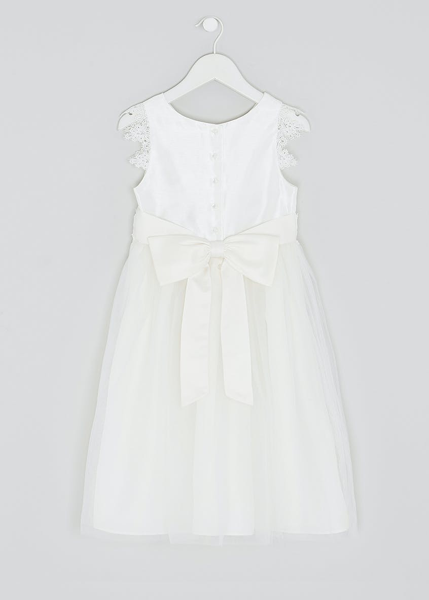Girls Cream Lace Sleeve Flower Girl Dress (3mths-13yrs)