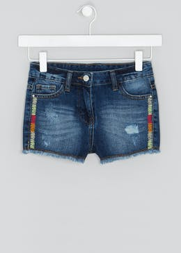 Girls Embroidered Denim Shorts (4-13yrs)