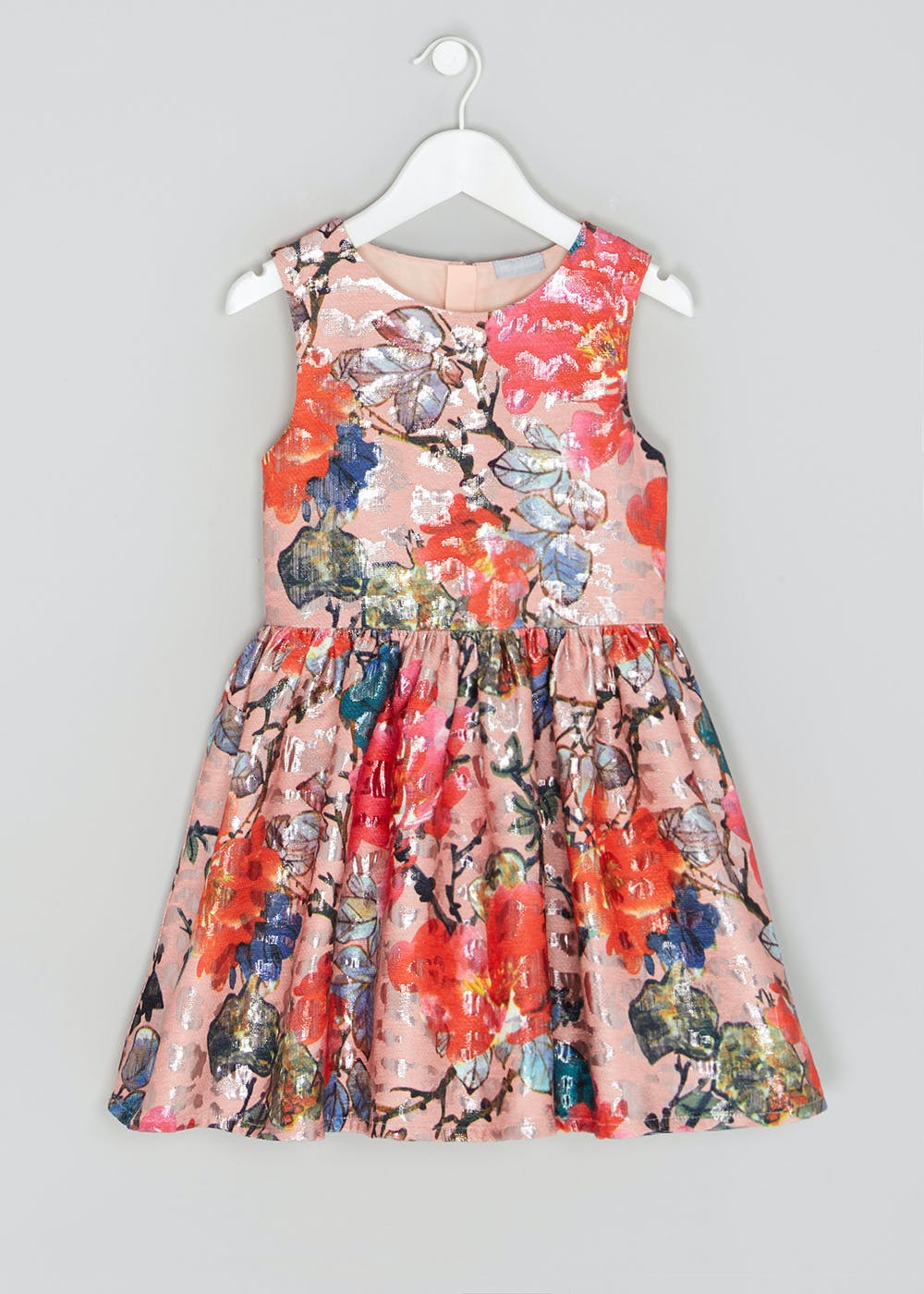 Girls Foil Floral Dress (4-13yrs) – Peach – Matalan