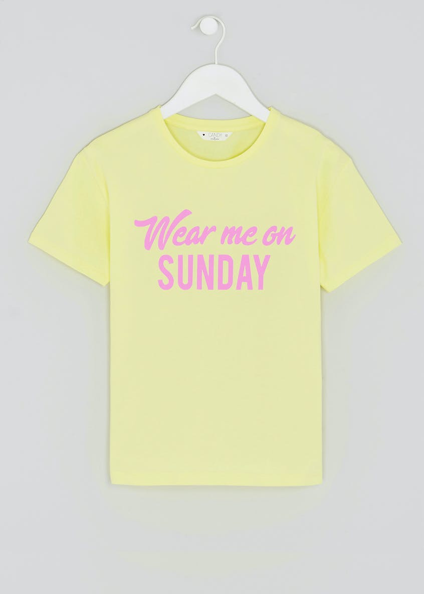 Girls Candy Couture Sunday Slogan T-Shirt (9-16yrs)