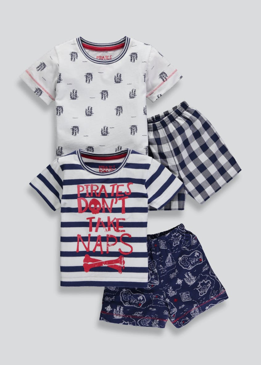 Boys 2 Pack Pirate Short Pyjamas (9mths-5yrs)