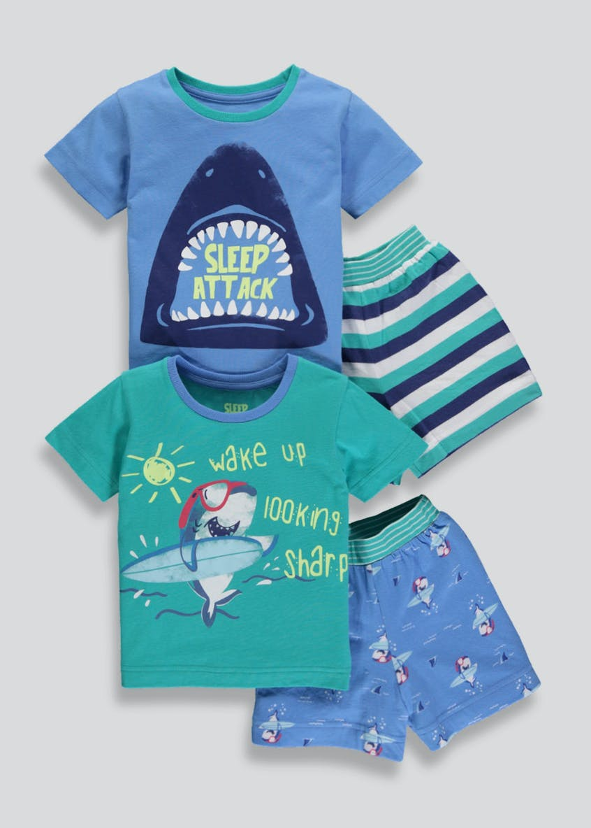Boys 2 Pack Shark Short Pyjamas (9mths-5yrs)