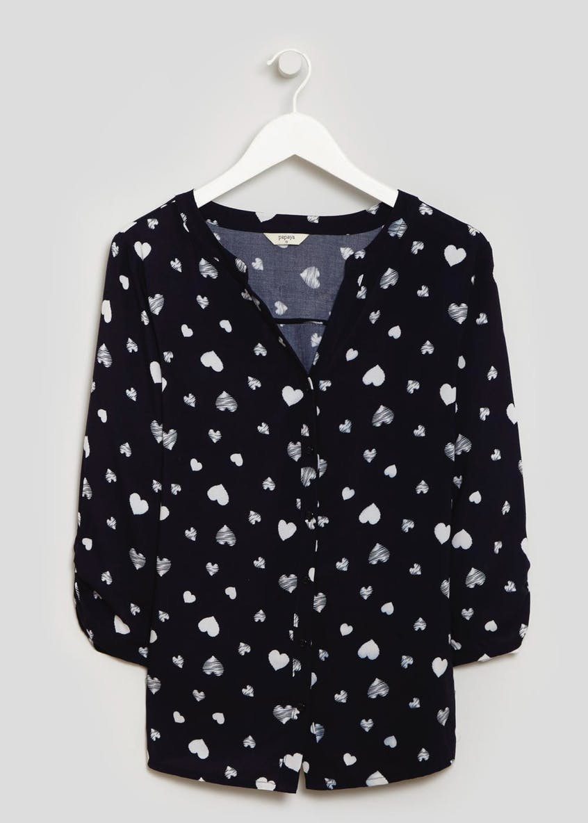 Heart Grandad Collar Blouse