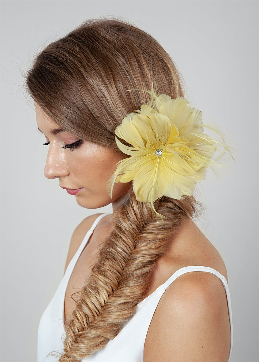 Flower Feather Clip