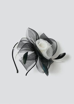 Net Rose And Feather Fascinator
