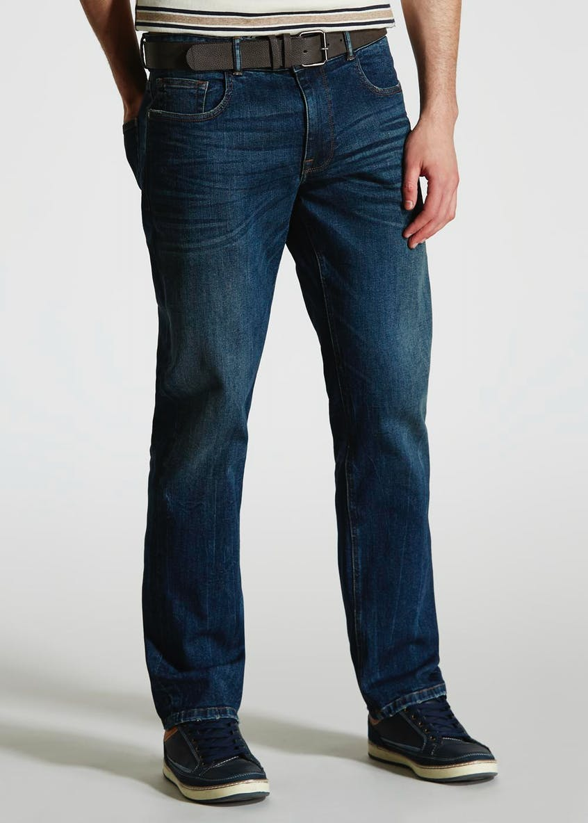 Belted Stretch Straight Jeans