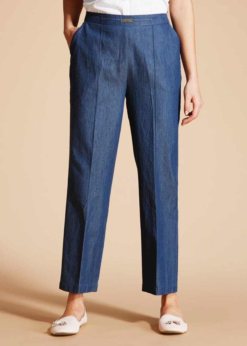 Denim Pleat Front Snaffle Trousers