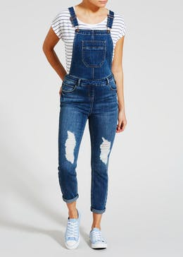Riley Ripped Denim Dungarees