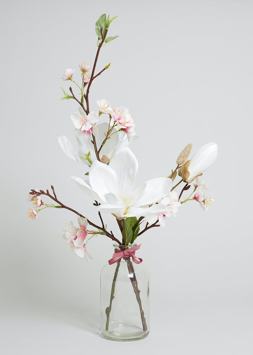 Magnolia in Glass Vase (45cm)