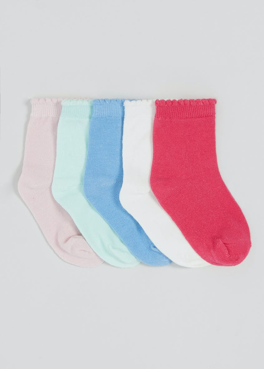 Girls 5 Pack Ankle Socks (Newborn-8.5)