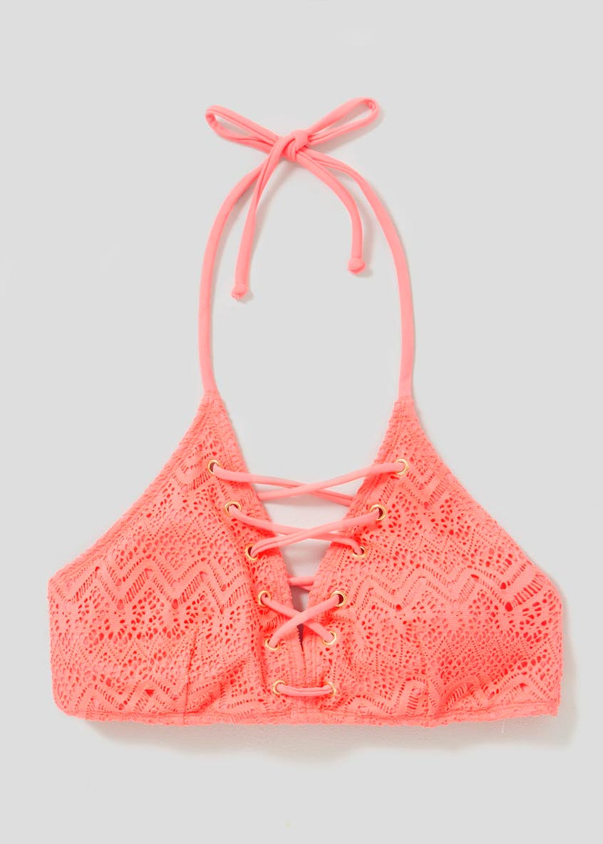 Crochet Lace Up Bikini Top
