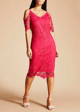 Soon Lace Cold Shoulder Pencil Dress