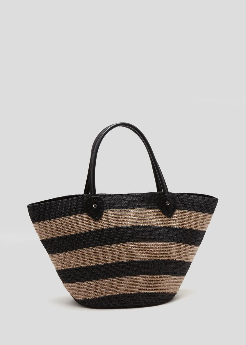 Metallic Stripe Beach Bag