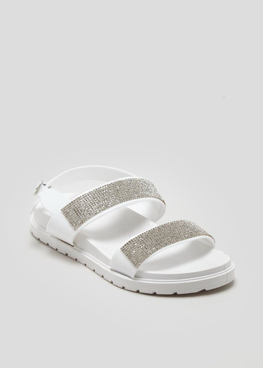 Diamante Twin Strap Jelly Footbed Sandals