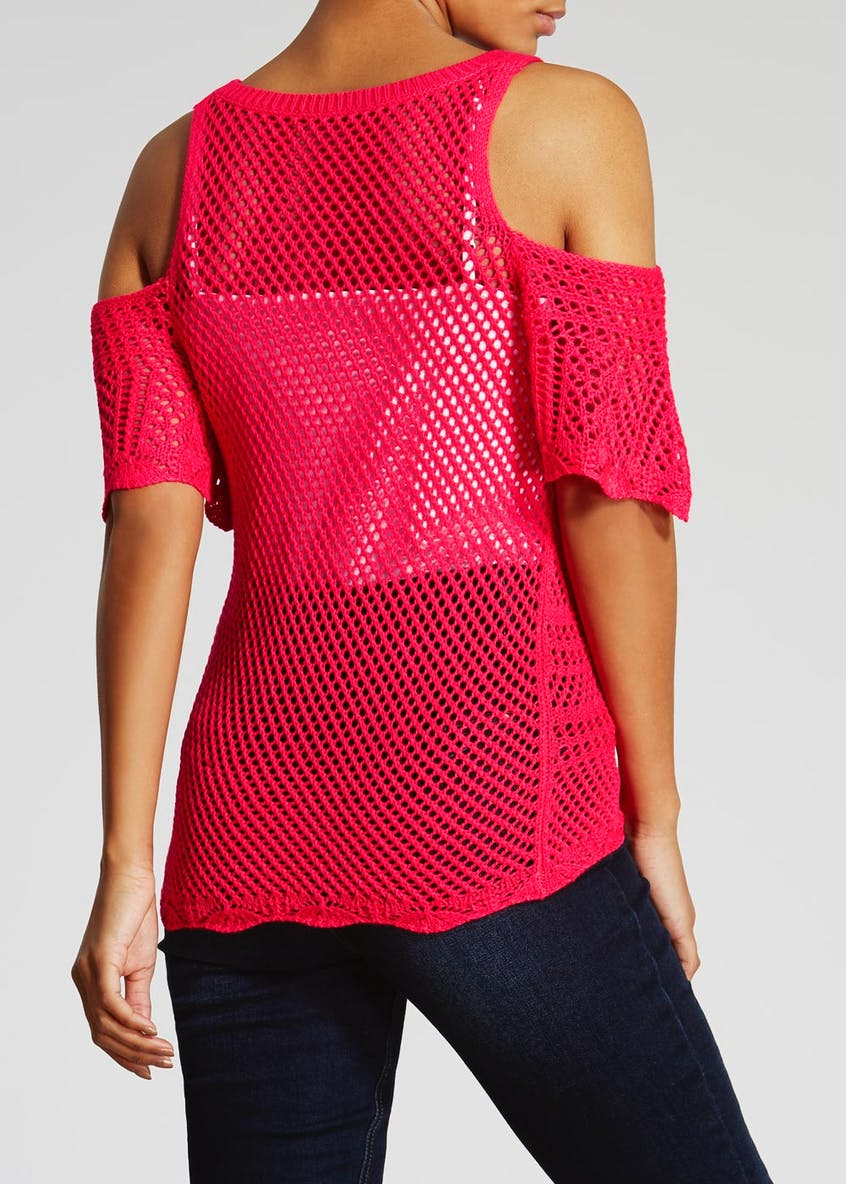 Cold Shoulder Pointelle Top