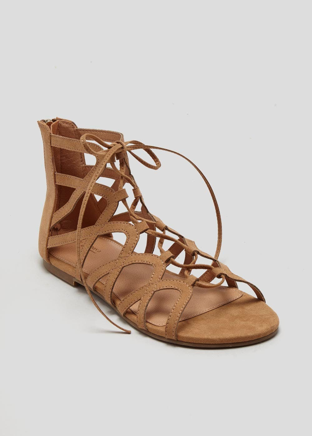 e7f876f5a Lace Up Caged Ghillie Gladiator Sandals – Tan – Matalan