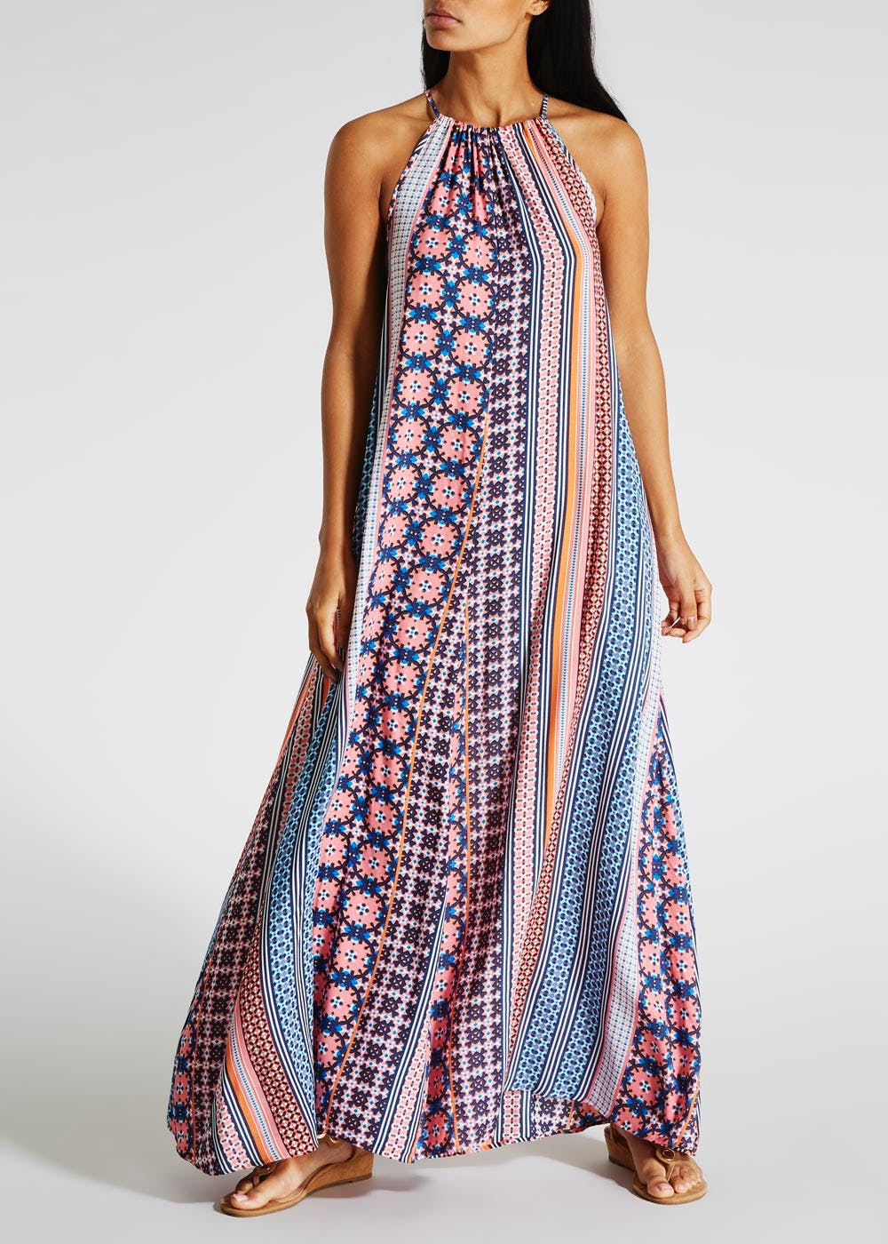 Printed High Neck Maxi Dress – Pink – Matalan
