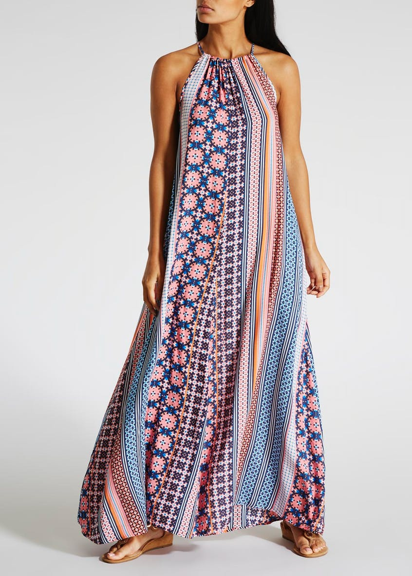 Printed High Neck Maxi Dress