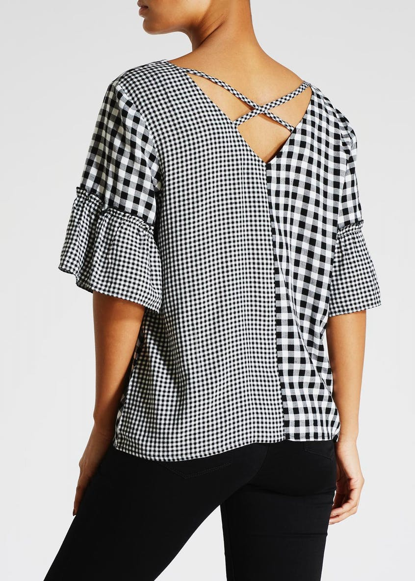 Gingham Embroidered Bell Sleeve Box Top