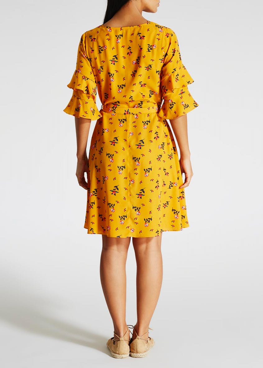 Floral Double Frill Belted Tea Dress