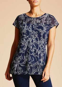 Soon Sorrento Floral Woven Mix T-Shirt