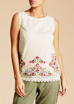 Falmer Embroidered Lace Sleeveless Blouse