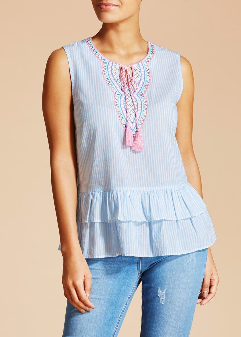 Falmer Embroidered Stripe Frill Hem Sleeveless Top