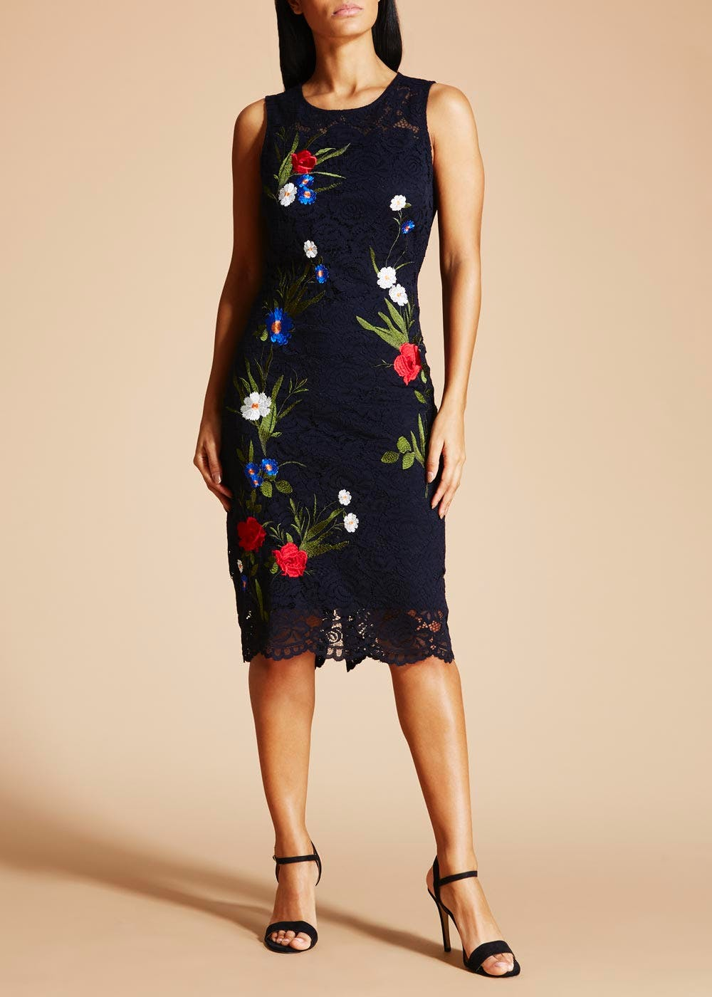 Soon Embroidered Floral Lace Pencil Dress – Navy – Matalan
