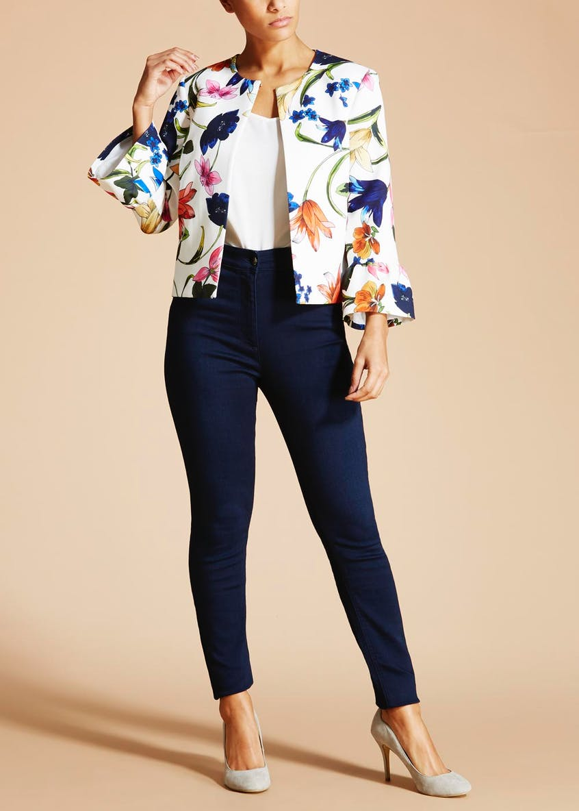 Soon St Lucia Floral Bell Sleeve Cropped Jacket