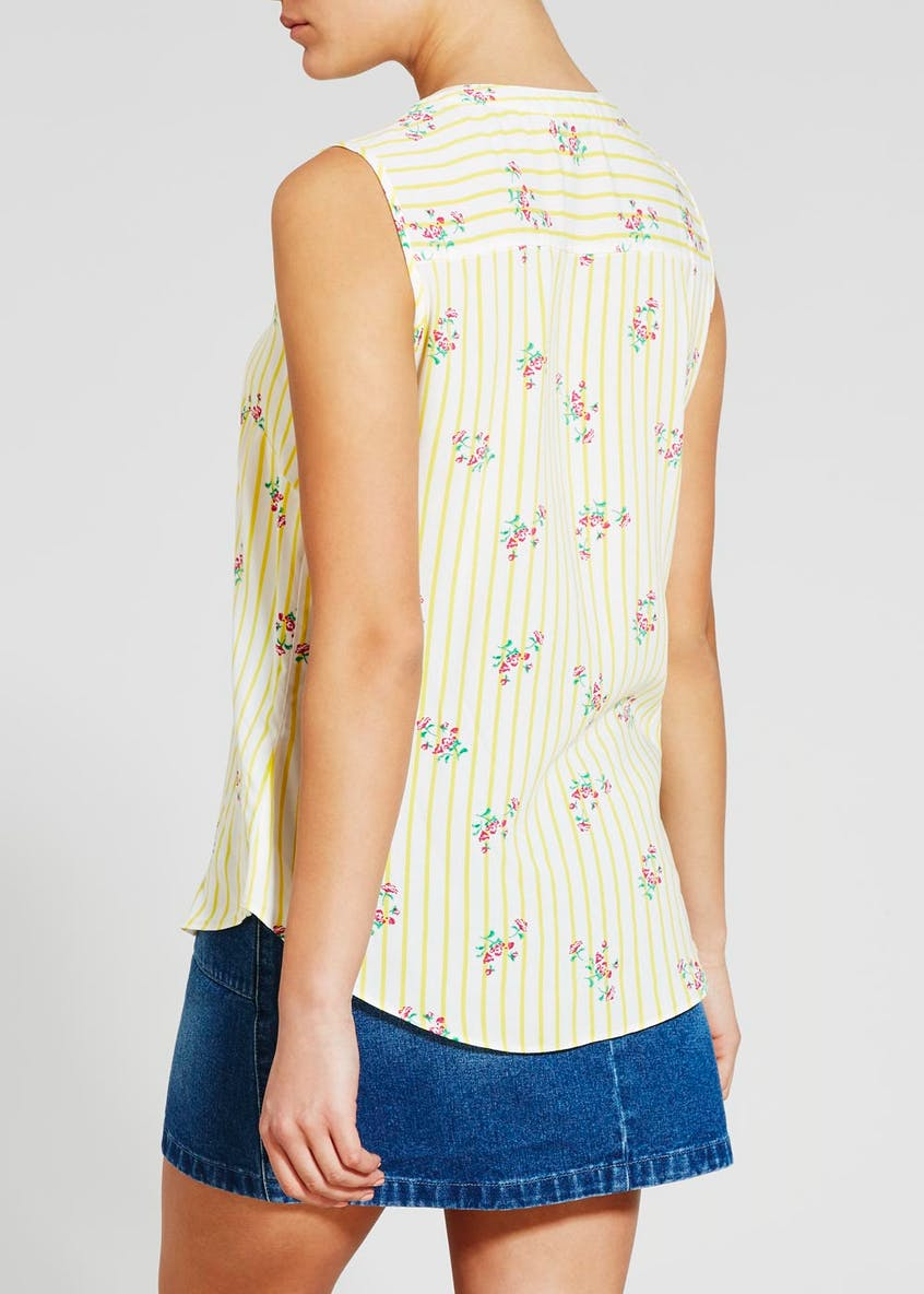 Floral Stripe Sleeveless Blouse