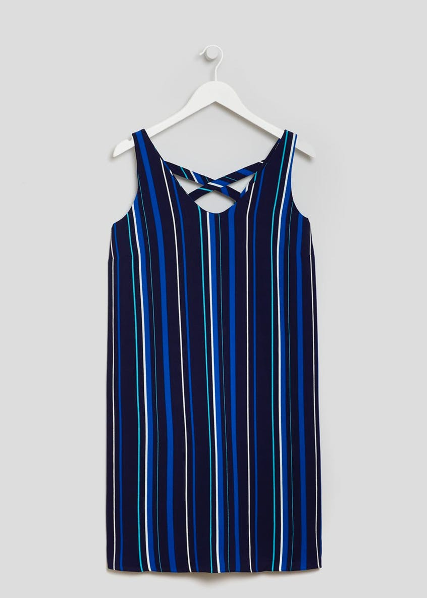 Papaya Curve Stripe Cami Dress - Navy