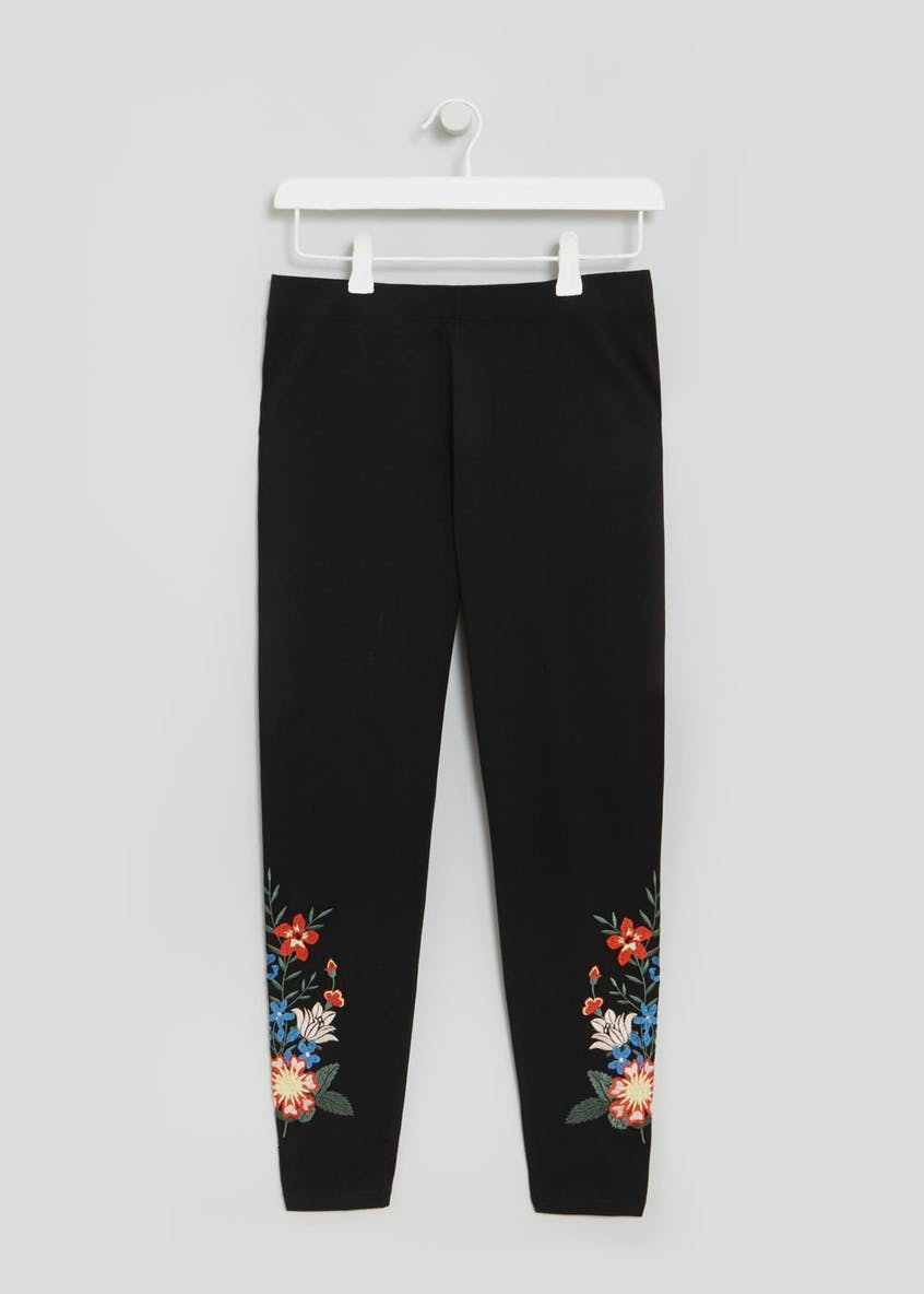 Embroidered Hem Leggings