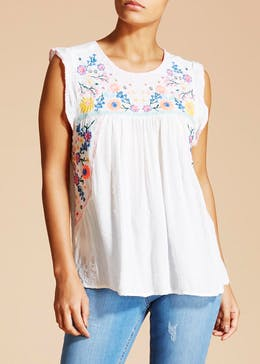Falmer Festival Lurex Embroidered Top