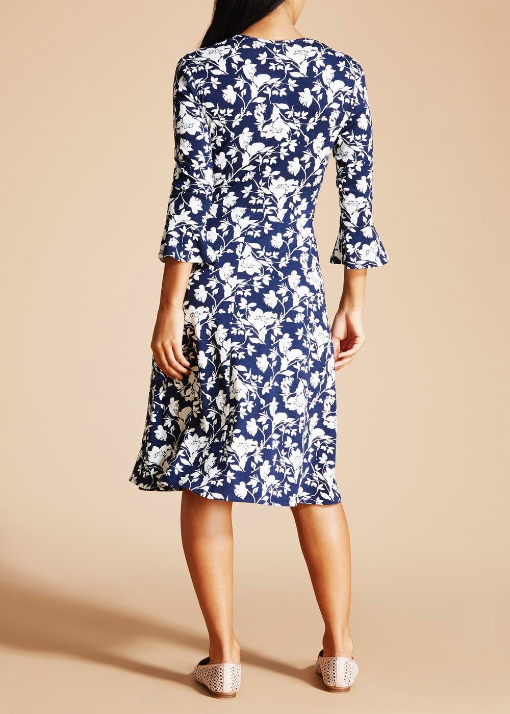 Floral Bell Sleeve Wrap Dress – Navy – Matalan
