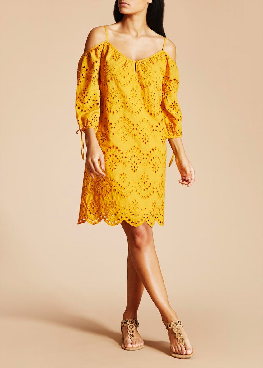 Falmer Cold Shoulder Dress - Mustard