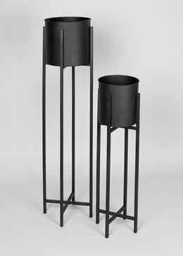 Set of 2 Tall Metal Planters (105cm x 25cm x 23cm)