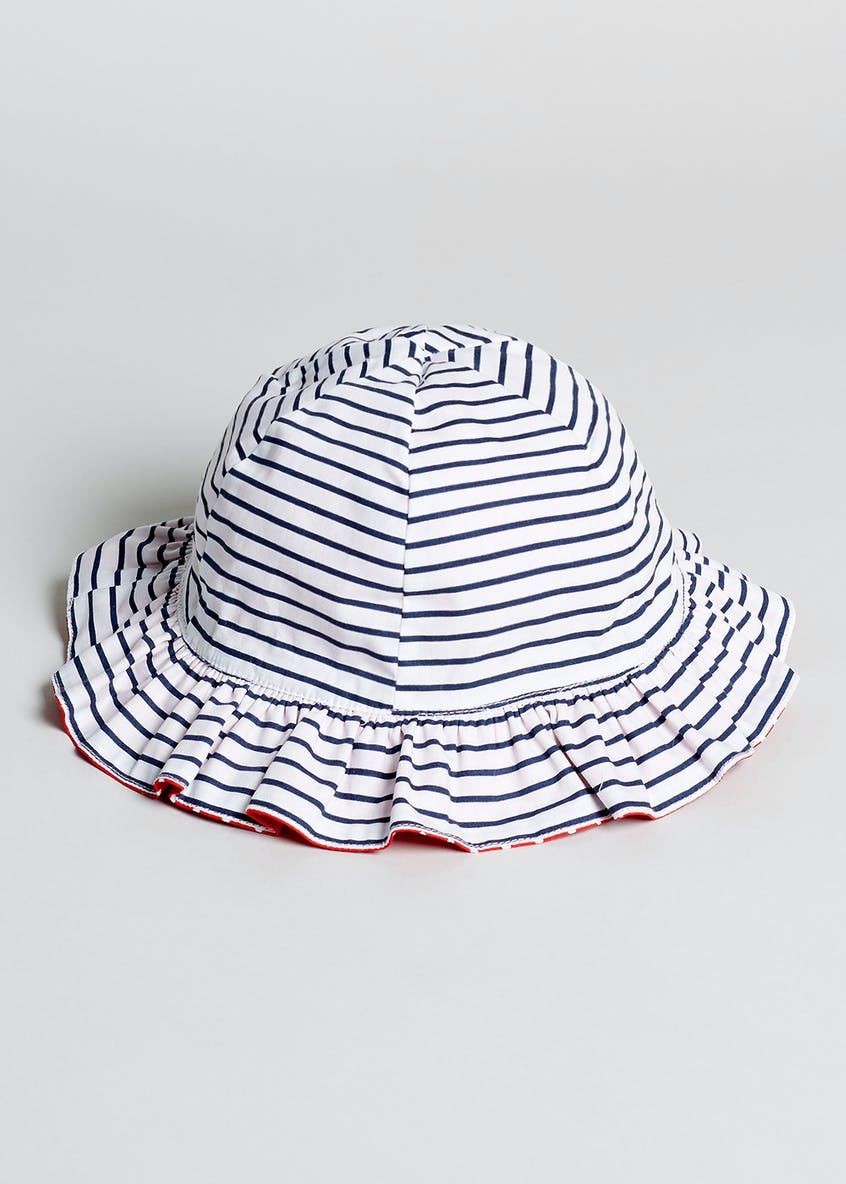 Girls Stripe & Spot Reversible Sun Hat (Newborn-23mths)