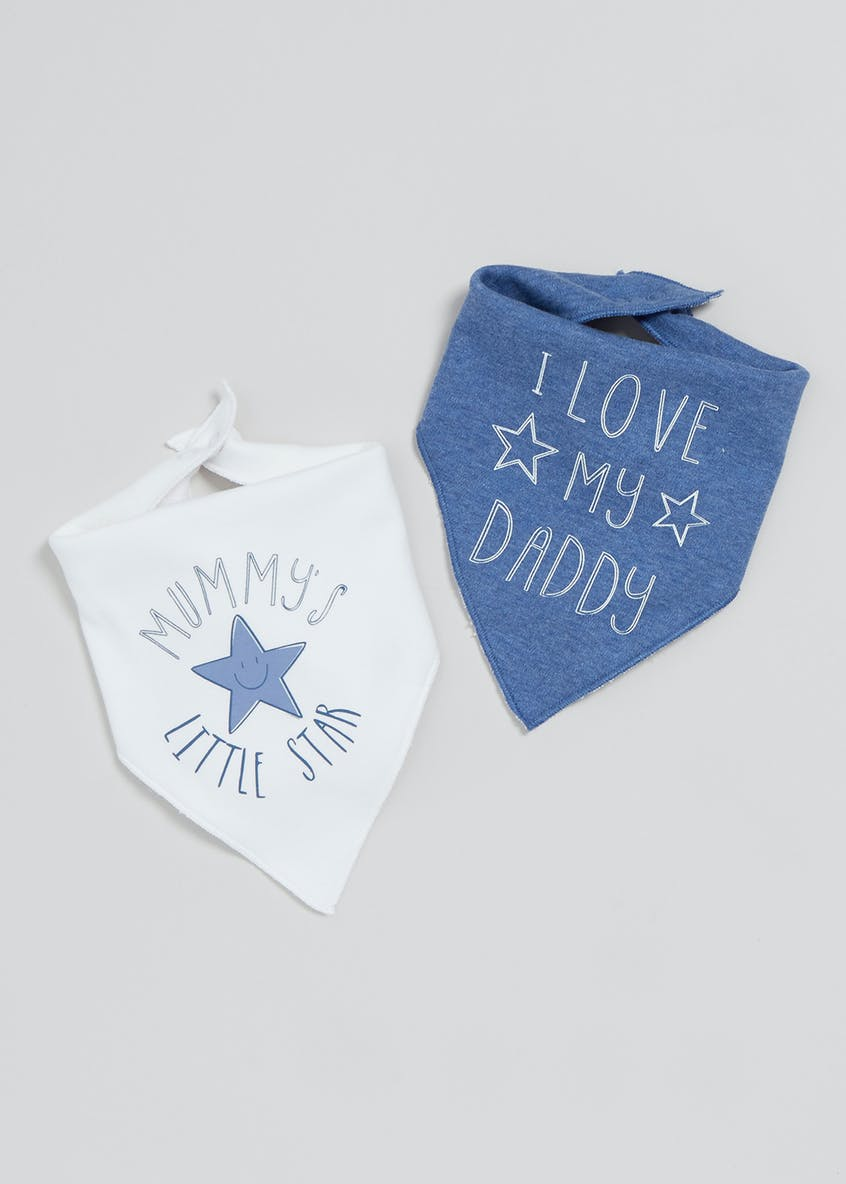 2 Pack Mummy & Daddy Slogan Bandana Bibs (One Size)