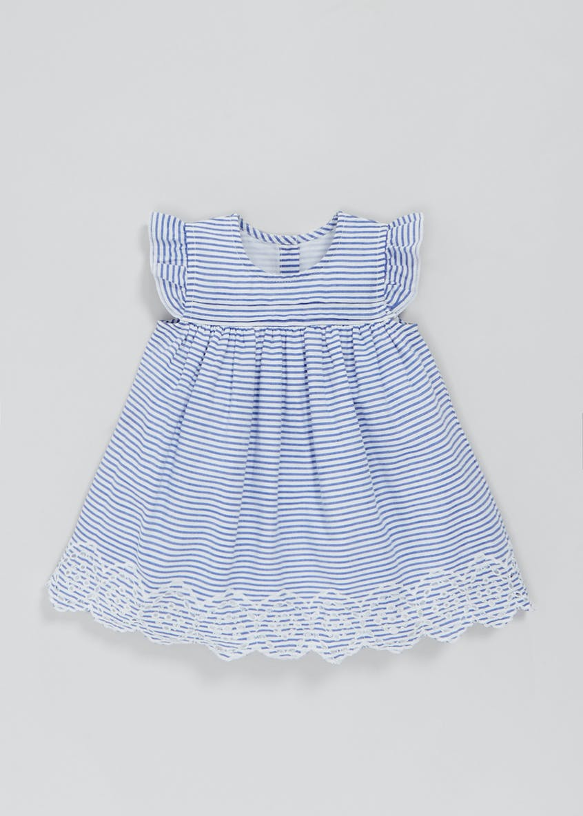 Girls Stripe Broderie Dress (Newborn-18mths)