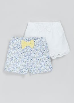 Girls 2 Pack Floral & Broderie Shorts (Newborn-23mths)